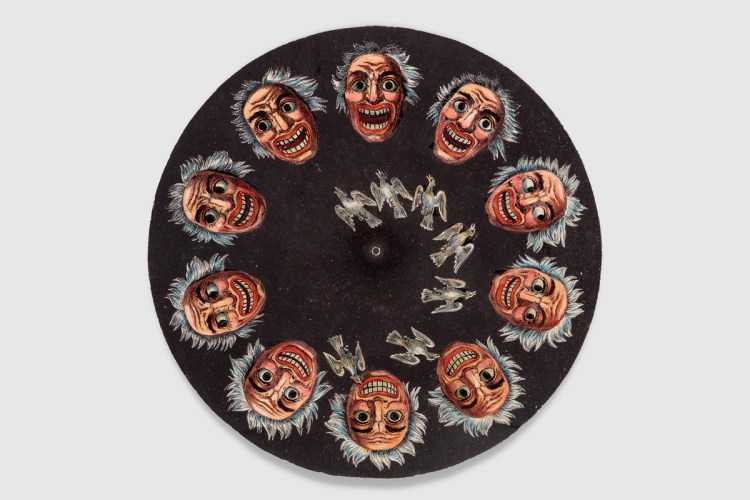 Animation disc for a Living Pictures Optical Illusion phenakistiscope from Germany, ca. 1840.