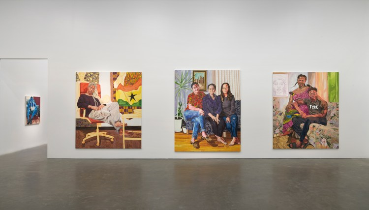 Installation view of Jordan Casteel: Within Reach, 2020, at New Museum, New York.