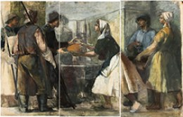 A painting shows a solemn meeting between Hungarian workers and peasants, rendered in muted, earthy tones
