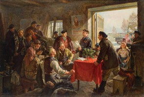 A painting of humbly dressed workers assembled in a simple room lit with early spring light coming through a wide open door