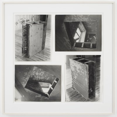 A grid of four photos of segments cut from abandoned buildings