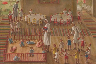 A painting of a childcare facility in Czechoslovakia. It's a spacious room and the figures are narrow, loosely rendered in white and primarily colors