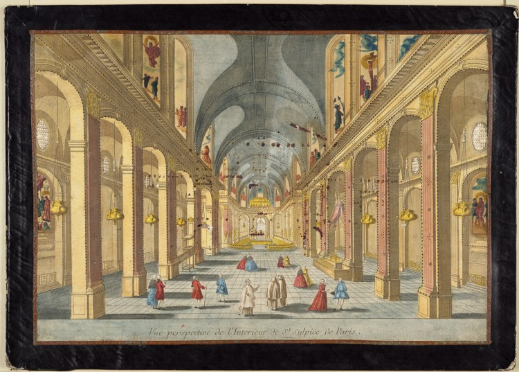 A hand-colored engraving from the 18th century showing a perspectival view of the interior of the Church of Saint-Sulpice in Paris.
