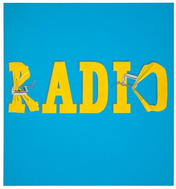 """An Ed Ruscha painting that Jeff Bezos reportedly bought. The word """"RADIO"""" appears against a light blue background with its letters torqued by clamps."""