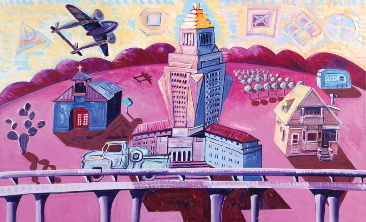 Frank Romero, Pink Landscape, 1984.