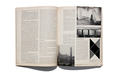A magazine spread showing images of minimalist art