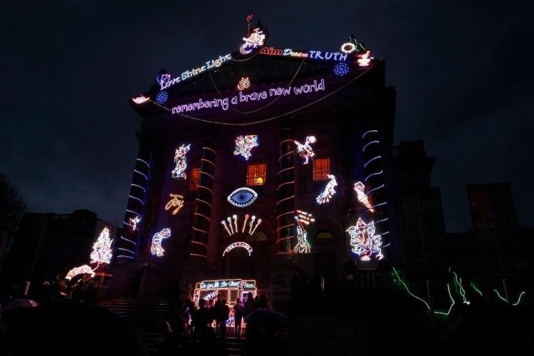 Chila Kumari Singh Burman's 'remembering a brave new world' illuminated on the facade of Tate Britain in London