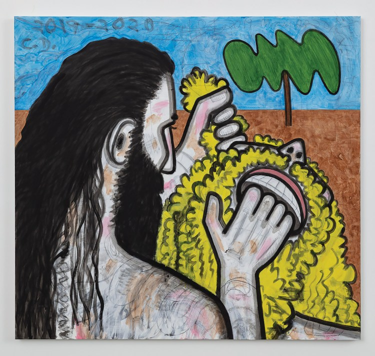 Carroll Dunham, whose painting Big Men Up Close/one, 2019–20, is shown here, has been represented by Gladstone for almost 20 years.