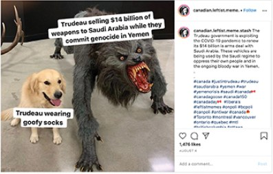 A screenshot of a meme post on Instagram critiquing Canadian Prime Minister Justin Trudeau