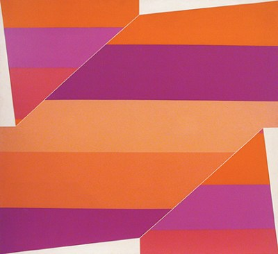 Abstract painting composed of jagged shapes striped with various shades of orange and purple