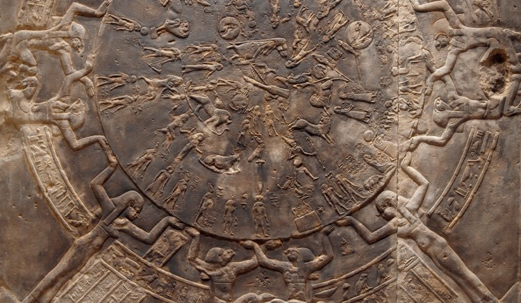 Dendera Zodiac, sculptural relief mapping the ancient sky from the east chapel of Osiris on the temple of Hathor, circa 30 BC. Part of a PST research project being undertaken at LACMA in collaboration with the Carnegie Observatories.