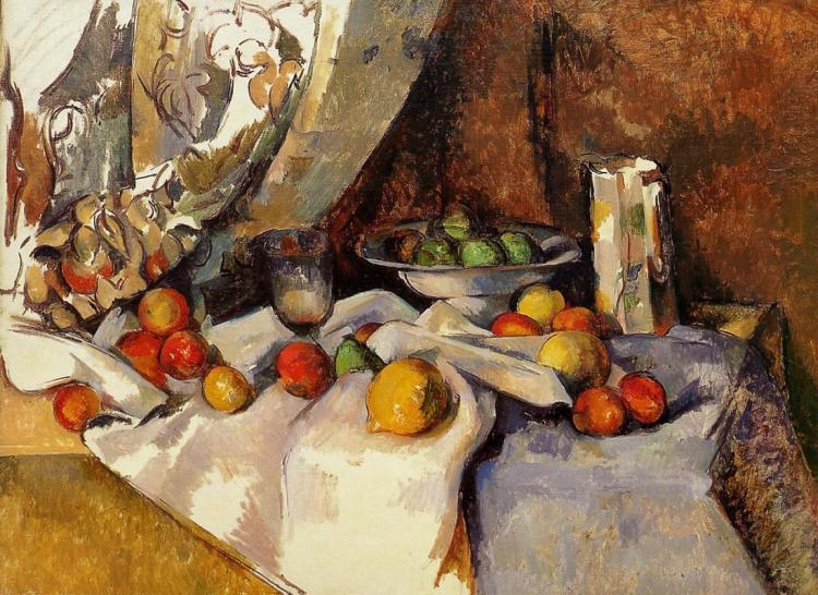 Paul Cézanne, 'Still Life Post, Bottle, Cup and Fruit,' ca. 1871, oil on canvas.
