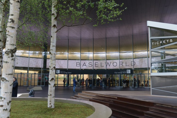 Exterior view of Basel Convention Center during Baselworld.