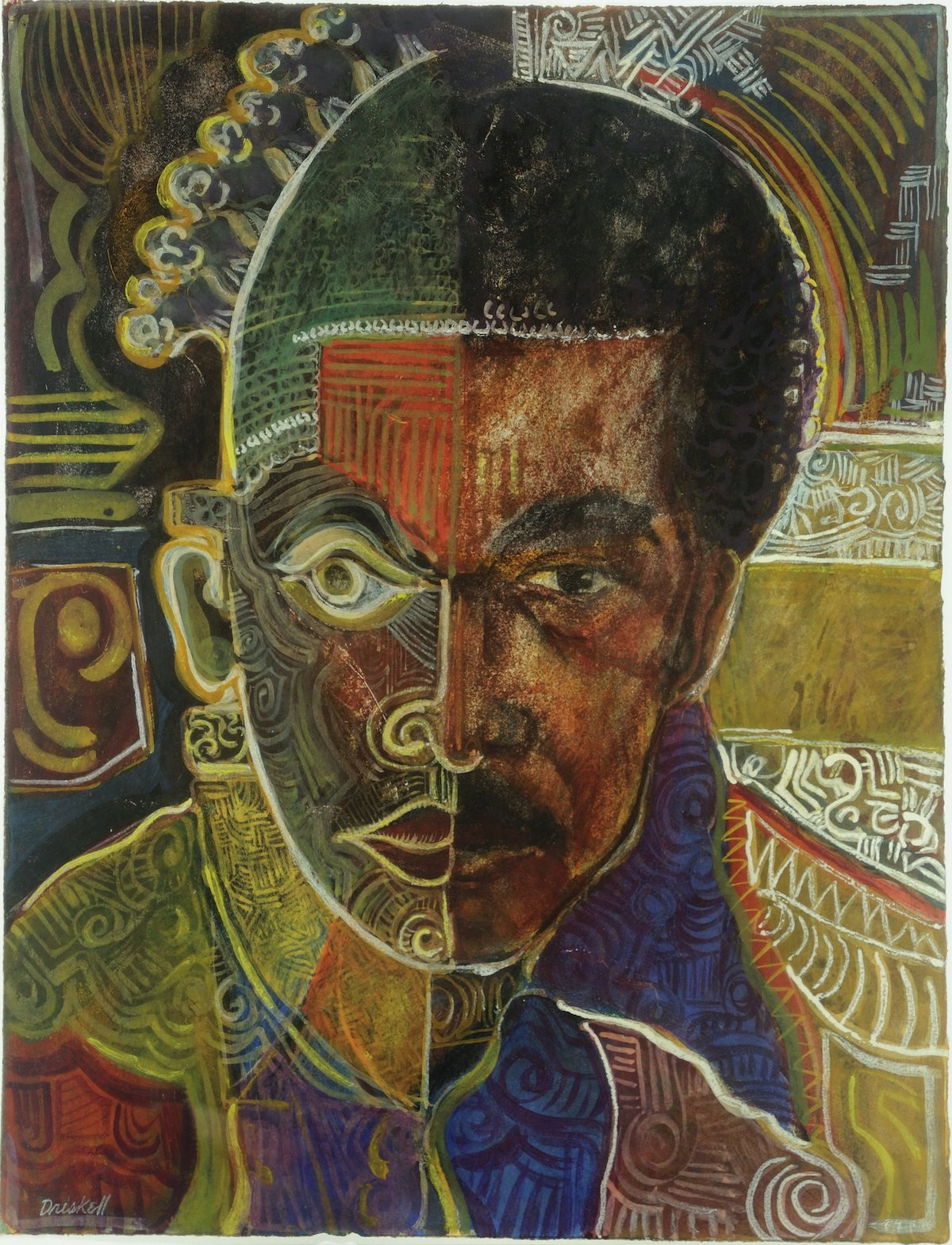"""David C. Driskell, 'Self-Portrait as Beni (""""I Dream Again of Benin"""")', 1974. A man's is split in two, with one half resembling a mask. Around him are abstract patterns that radiate outward."""
