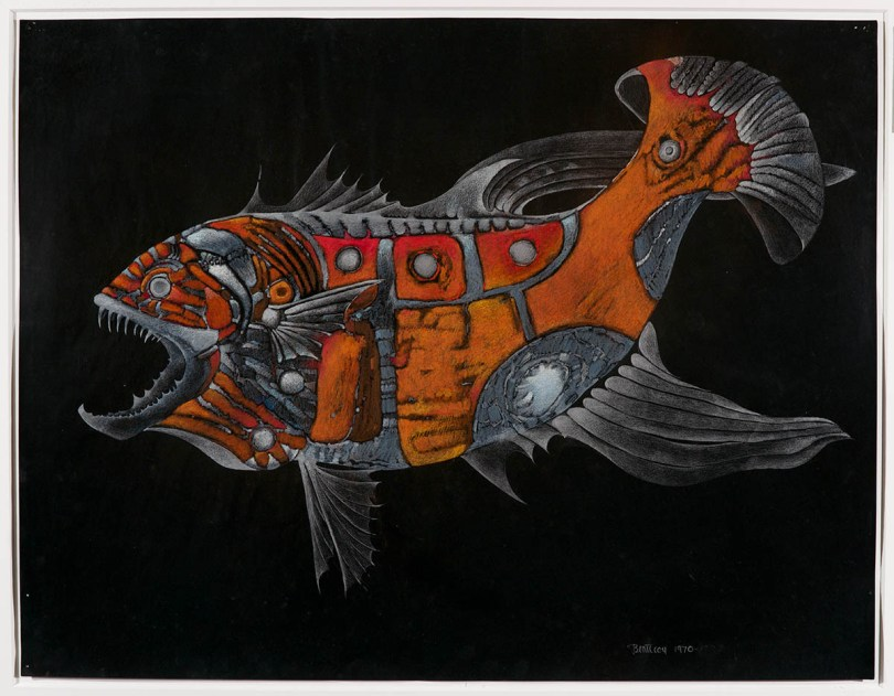 detailed drawing of a vicious red and orange fish with its mouth open