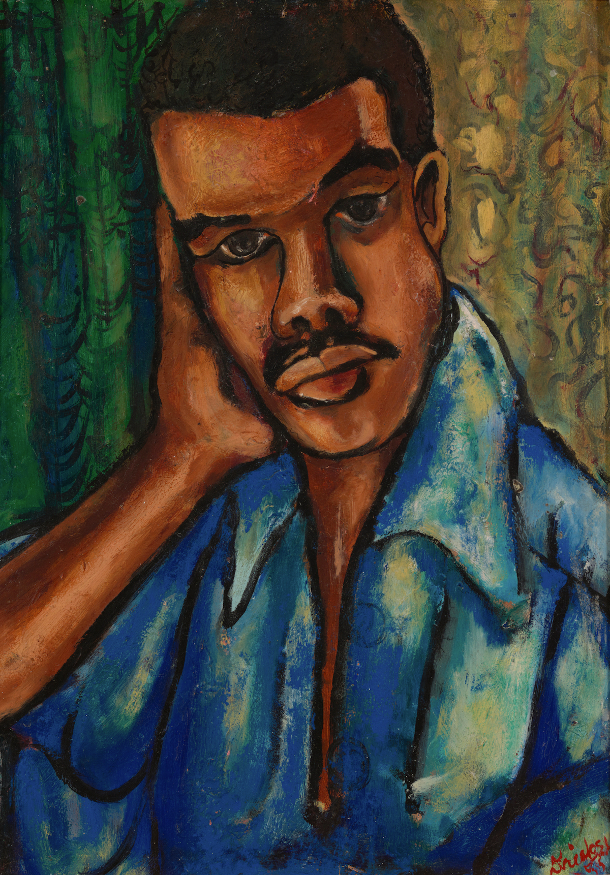 David C. Driskell, 'Self-Portrait,' 1953. A Black man with almond-shaped eyes and a blue shirt appears before a green and gold background.