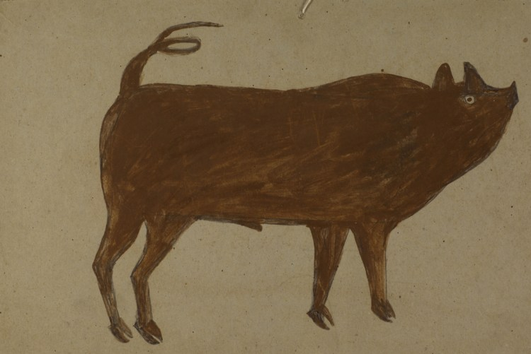 Bill Traylor, Untitled (Pig with Corkscrew Tail), n.d.