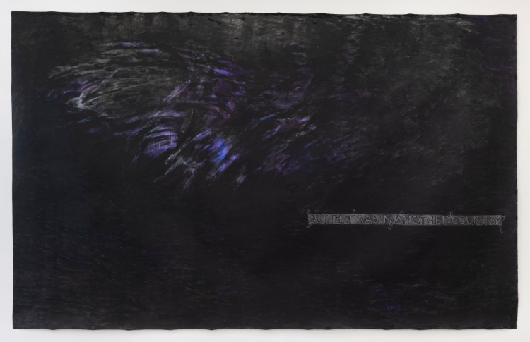 A painting—almost all black and with a reflective suface—features a few painted highlights in white and glowing purple. There is text in a line near the bottom right, but it isn't legibe.