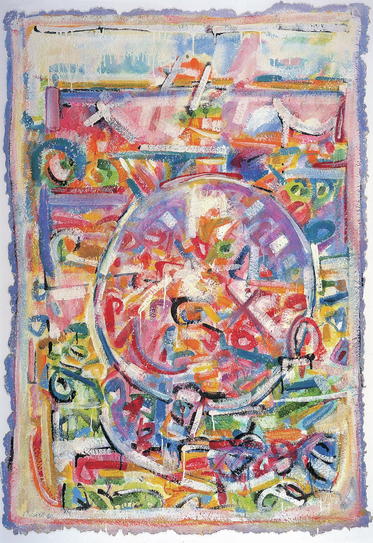 David C. Driskell, 'Yaddo Circle', 1980. A swirling mass of white, purple, green, yellow, and red lines centers around a circle.
