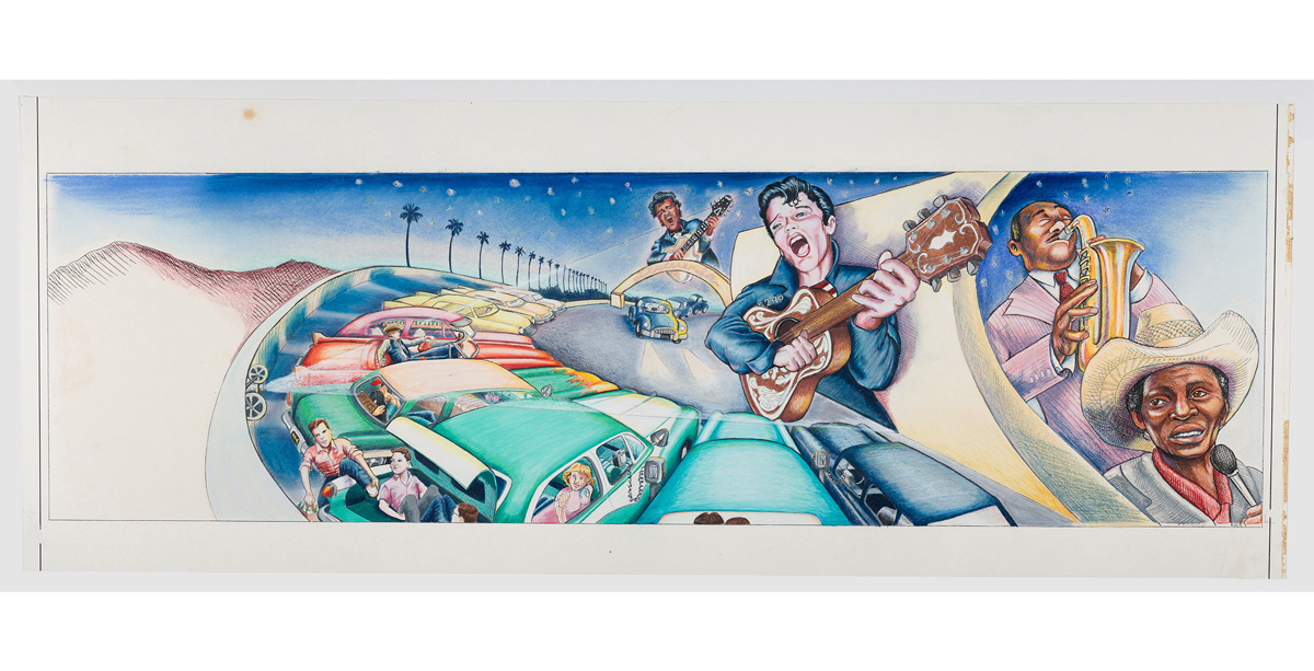 Judith F. Baca, The Great Wall of Los Angeles 1950: The Birth of Rock and Roll, 1983.