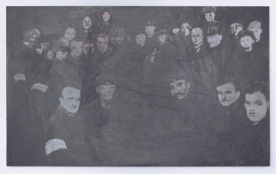 A shiny, dark gray painting shows two dozen or so faces of men in suits. Some have bands around their arms. All face the viewer, and the faces have little detail, as if xeroxed.