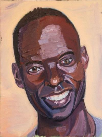 An amateur painting of a smiling Black man with a shiny forehead.