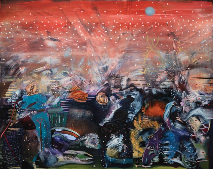 Ali Banisadr's Red, a painting that started out predominantly blue but shifted hues in early 2020 when the artist began to sense a mood of impending crisis.