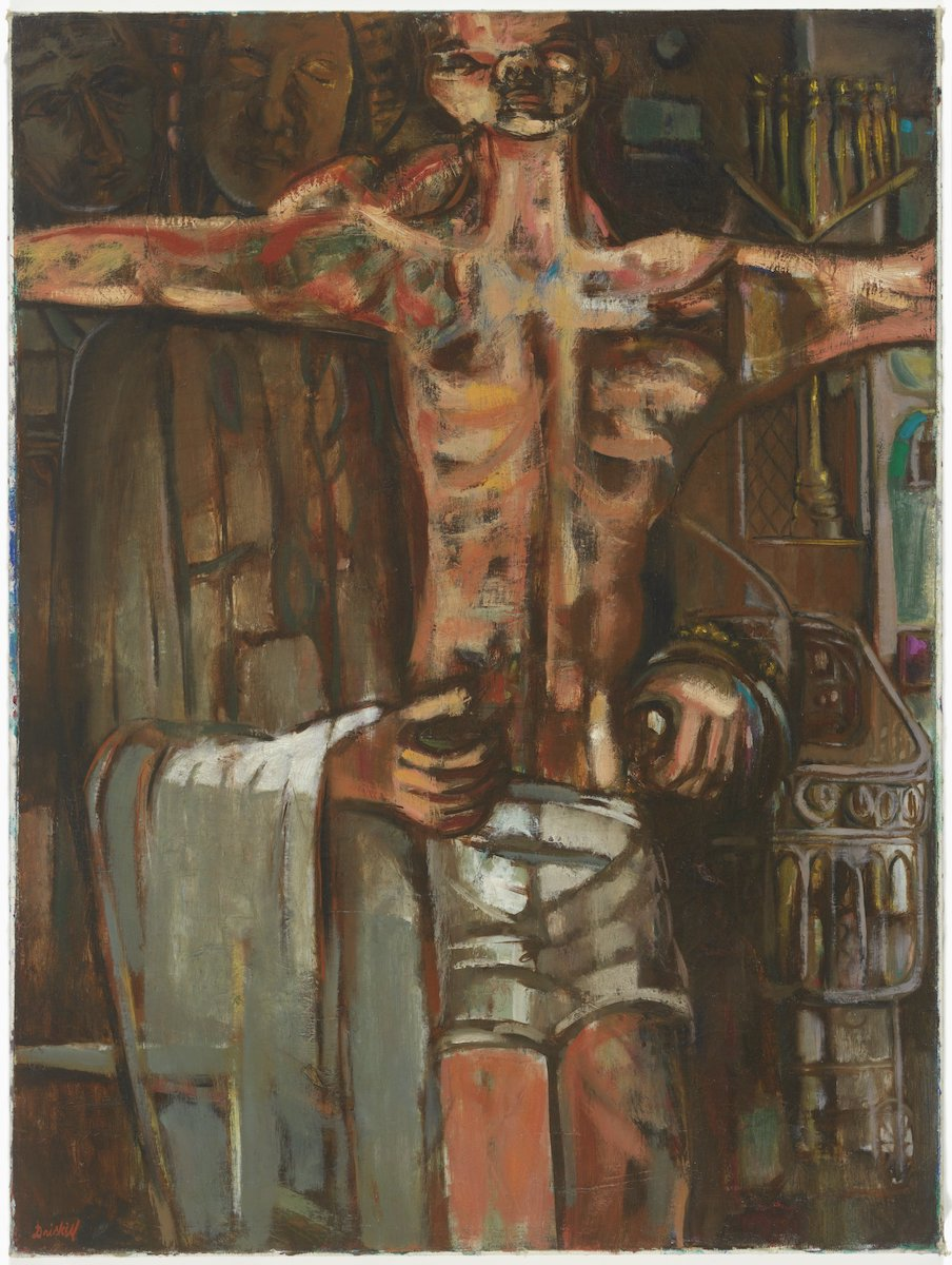 An oil painting in which the artist presents the bruised and battered body of Emmett Till as a Christ-like figure with his arms outstretched in the form of a crucifixion. The hands and arms of a figure behind him are visible holding the body.
