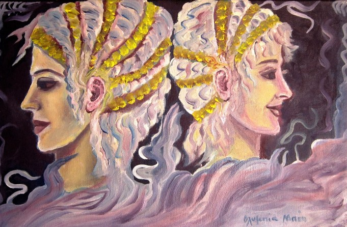 Demeter and Persephone (Oil on canvas, 20X30 cm)
