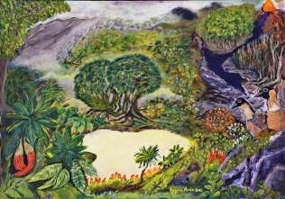 The Garden of Eden (Acrylic on paper, 50Χ72 cm)