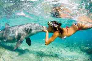 Bora Bora Girl with Dolphin,The Most Beautiful Island in the World, Beach, Island, Tahiti, ArtofAdventure.Net