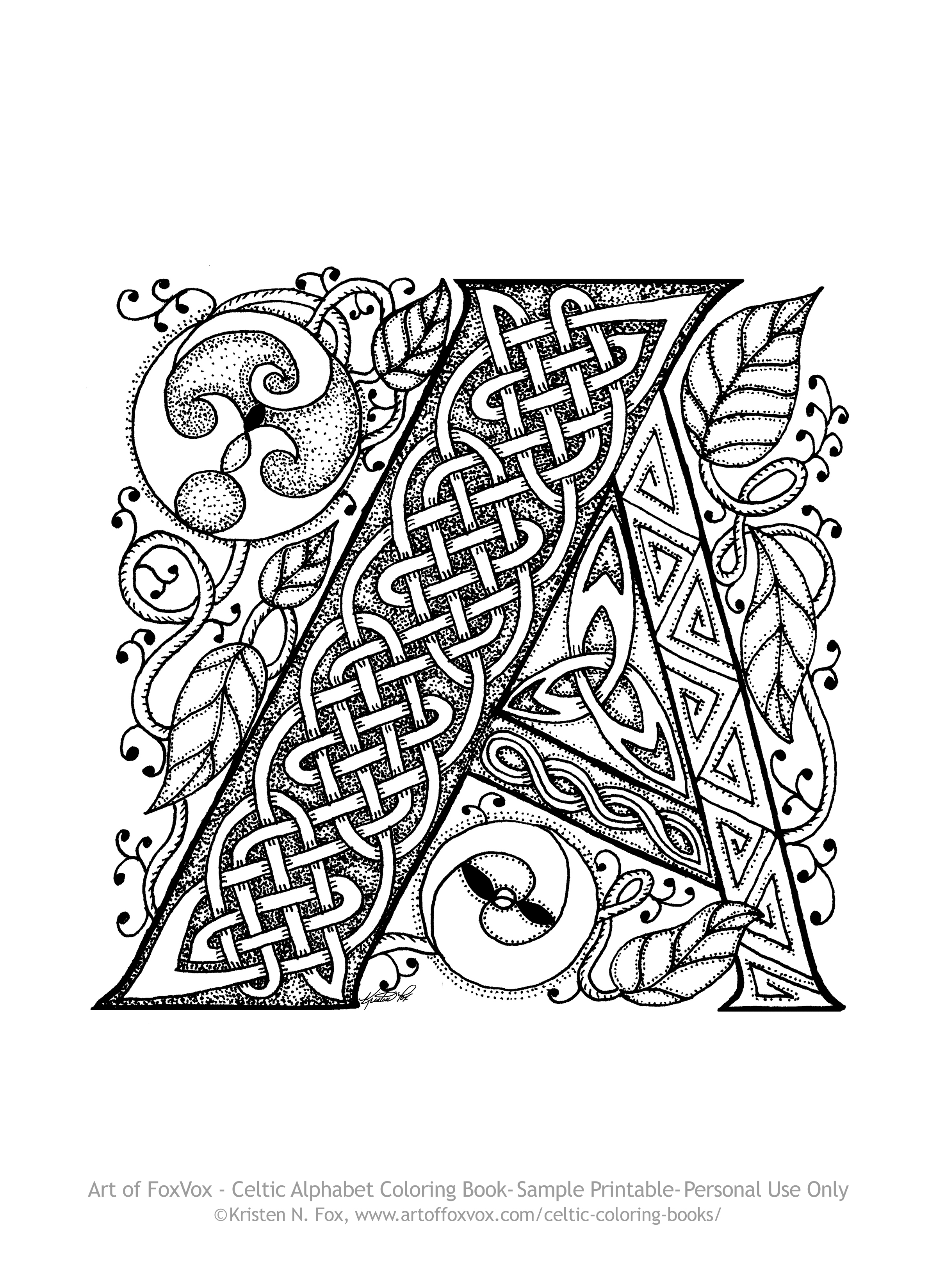 Celtic Letters Colouring Pages