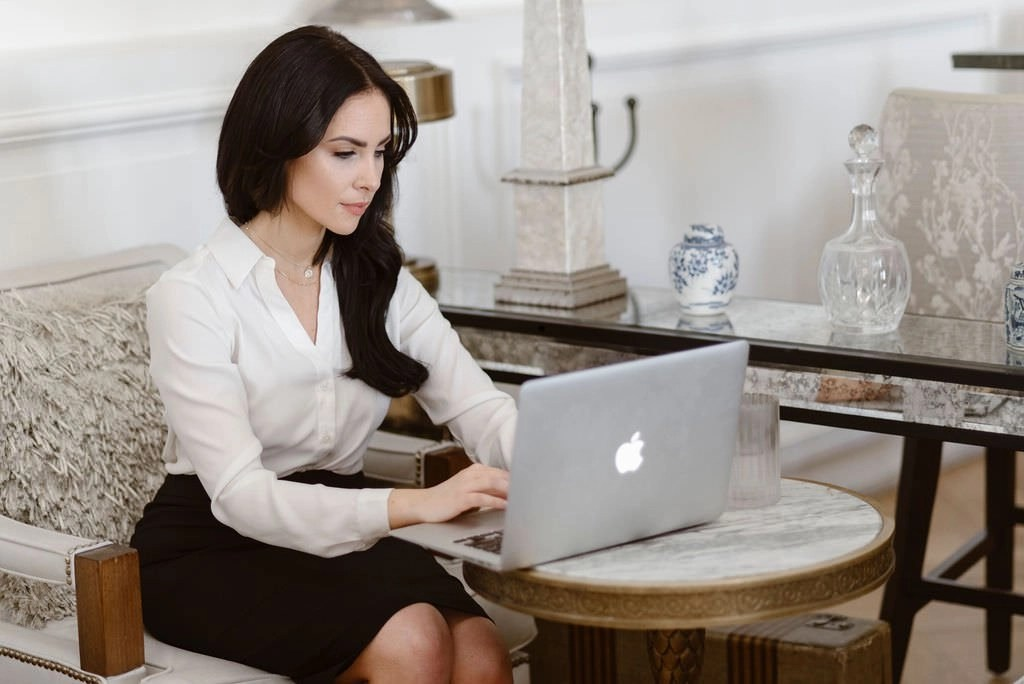 business woman working at table