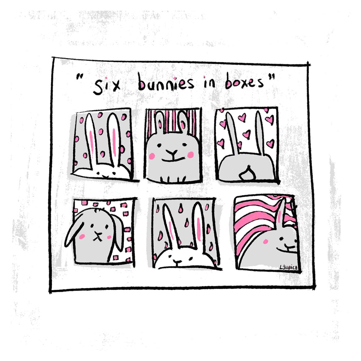 Six Bunnies in Boxes Pink