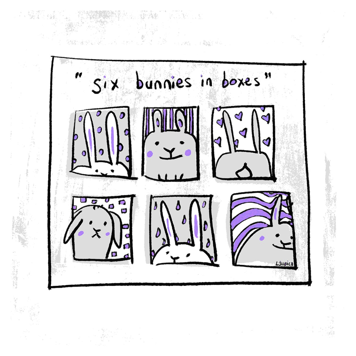 Six Bunnies in Boxes Purple