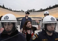 Greek gay activists protest the oppression of the Russian LGBT community (Feb 2014)