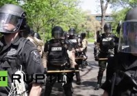 USA: McDonalds calls in the police to a minimum wage protest by workers (May 2014)