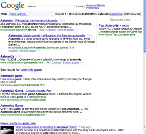First page of a search for asteroids on google.