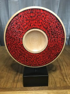 Ash platter with red coloring wood turned.