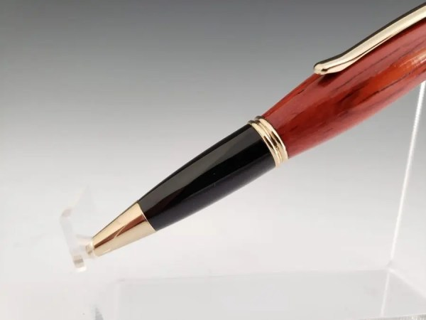 Padauk wood executive handmade pen with black and gold accents