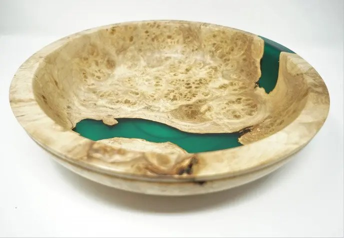 Silver Maple Burl and Epoxy Bowl