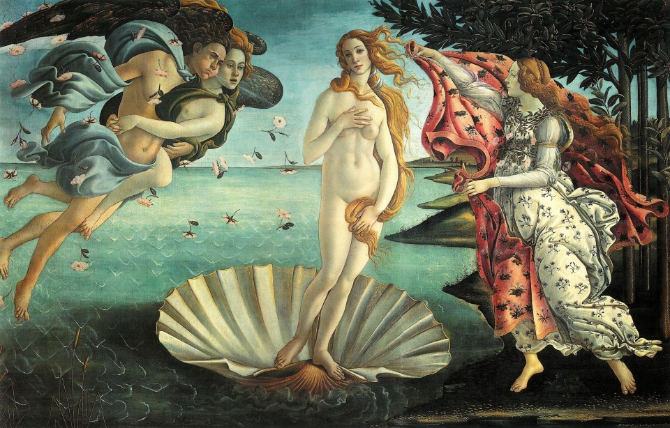 "Botticelli's ""Birth of Venus"" - Note Venus is receiving a mantle embroidered with myrtle and roses from Public Domain Photo of Rose from pixabay.com"