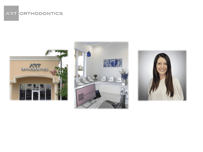 Slide for ART orthodontics showing outside of the office and reception and Dr Khatami