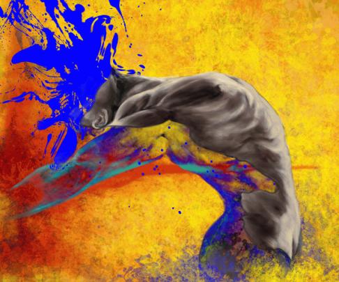 [Clin d'art #185] «Big bang». 2016. Marc Tremblay Peinture numérique sur toile. 61 x 76 cm 15 $ par mois pour un particulier (taxes incluses). © L'Artothèque. Tous droits réservés.