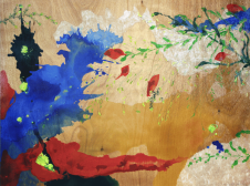 [Clin d'art #152] «Pruche printanière». 2010. Lucie-Charlotte Mainville. Acrylique et papier japonais sur bois. 91 x 122 cm 18 $ par mois pour un particulier (taxes incluses). © L'Artothèque. Tous droits réservés.