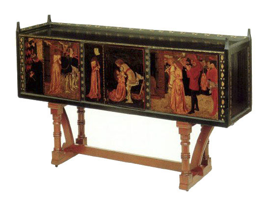 William Morris, St. George cabinet 1861-1862 - designed by his friend Philip Webb and painted by Morris himself