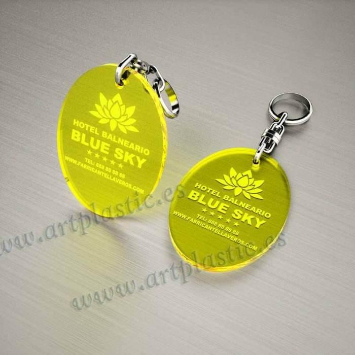 llaveros personalizados amarillos baratos ovalados 70x50
