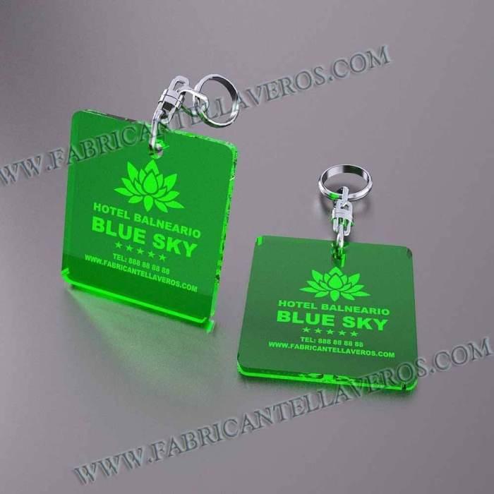 llaveros personalizados verdes baratos cuadrados 50x50