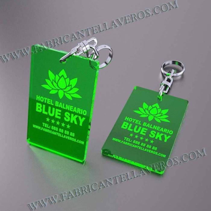 llaveros personalizados verdes baratos rectangulares 80x50