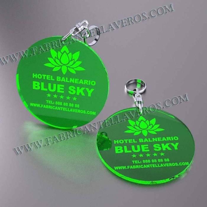 llaveros personalizados verdes baratos redondos 100x100
